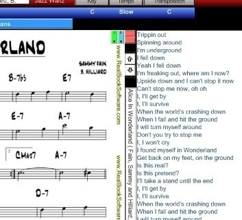 RealBook Software's Leadsheet and Lyrics page